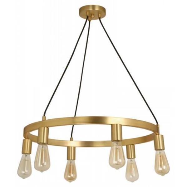 Lámpara colgante 6 luces dorada