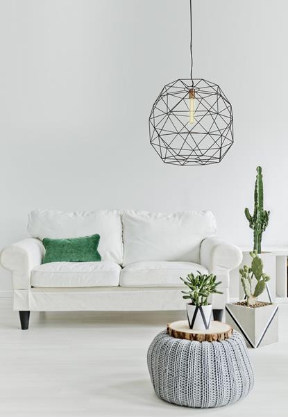 Lámpara colgante de una luz metálica