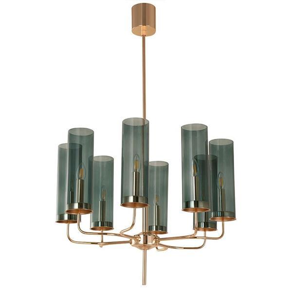Lámpara de techo 8 luces dorada