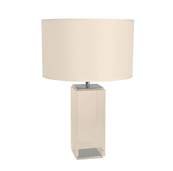Lámpara de mesa cromo 1L blanca