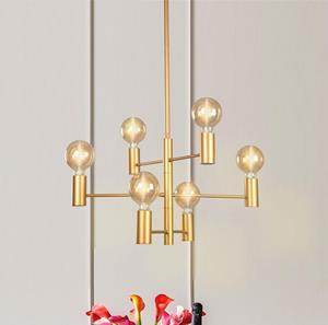 Lámpara de techo  6L dorada