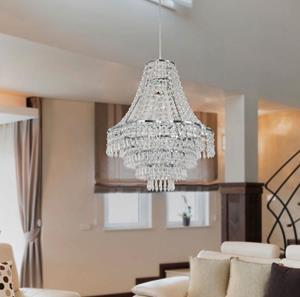 Lámpara techo cristal 1L níquel