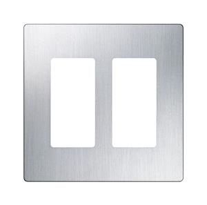 Imagen de Lutron Placa Decorativa de Pared 2-Gang Stainless Steel