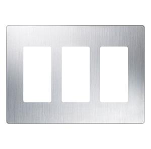 Imagen de Lutron Placa Decorativa de Pared 3-Gang acero inoxidable