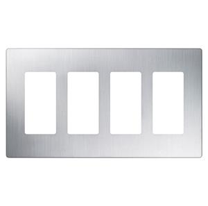 Imagen de Lutron Placa Decorativa de Pared 4-Gang acero inoxidable