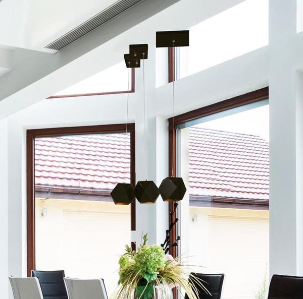 Lámpara de techo led 3L negro 12w