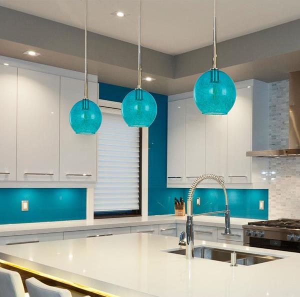 Lámpara Colgante 1 luz azul
