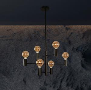 Lámpara Colgante 5L negro vintage