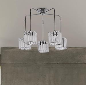 Lámpara Colgante 5L cristal cromo